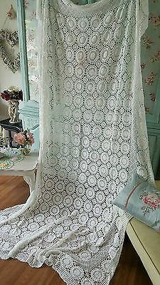 Vintage  White Cotton Hand  Crochet Bed Throw / Panel Banquet Cottage Chic