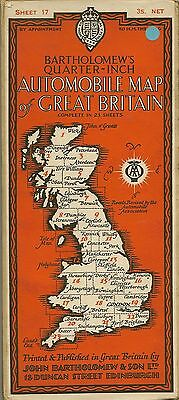 Bartholomews 1/4 inch Map No17   CARDIGAN & CARDIFF - (Cloth  Dissected) 1929