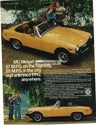 1976 MG Midget Yellow Backpackers Hikers Vtg Print Ad