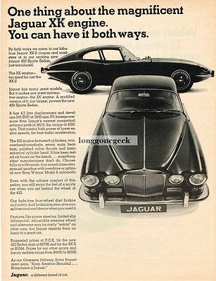 1967 Jaguar XKE Coupe 420 Sports Sedan Vtg Print Ad