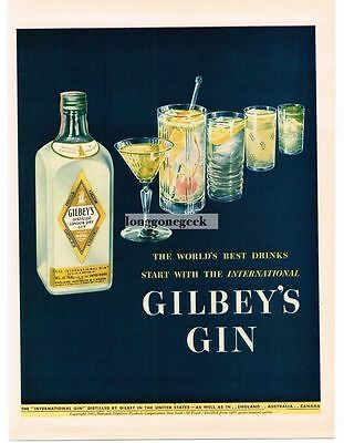 1942 Gilbey's Gin Vtg Ad & Tonic Martini Tom Collins Fizz Gimlet Cocktails