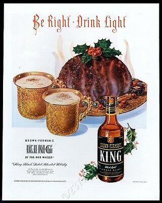 1948 Christmas Pudding holly ivy art King Black Label whisky vintage print ad