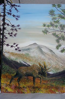 """""""moose Kingdom"""" 18 X 24 Acrylic Painting Perfect Man Gift /man Cave Painting"""