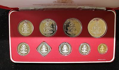 RARE 1983 Bahamas 9 Piece Silver Proof Set with Box, papers and COA