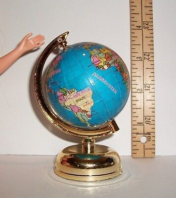 Miniature 1/6 Scale Fashion Doll Turning World Globe Accessory 3 & 6/8 Inch Tall