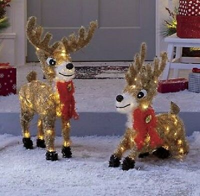 Set of Two Lit Reindeer 30 INCH HIGH AND 22 INCH HIGH  New