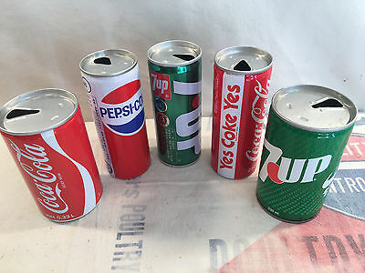 Vintage Soda Cans 7 up - Coke - Pepsi