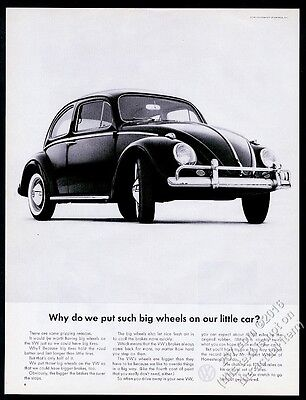 1962 VW Volkswagen Beetle classic car photo Why Such Big Wheels? 13x10 print ad