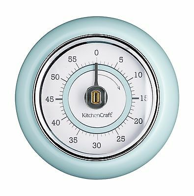 Kitchen Craft Retro Magnetic Manual 60 minute Kitchen Timer Cream Blue *TRACKED*