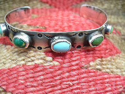 Old Pawn Navajo Coin Silver and Terquoise Bracelet with Multi Colored Stones
