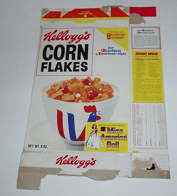 1972 Corn Flakes Cereal Box w/ Miss America Barbie Doll offer Kellogg's