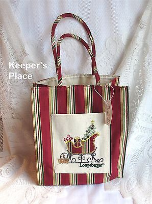 Longaberger HOLIDAY STRIPE SLEIGH Lunch Shopping Gift Tote Bag 2007 New With Tag