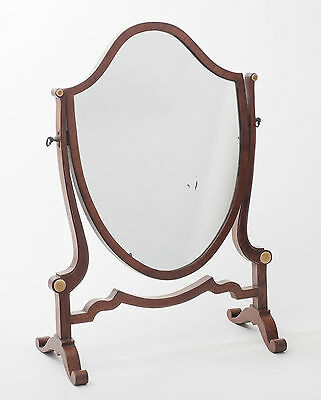 Antique Edwardian Mahogany Shield Shape Dressing Table Swing Mirror c1905