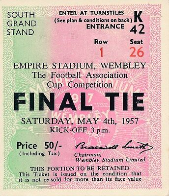 TICKET: FA CUP FINAL 1957 Aston Villa v Manchester United - EXCELLENT