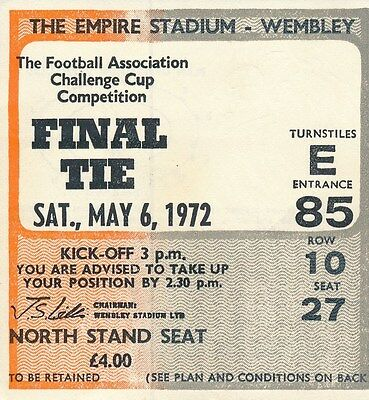 TICKET: FA CUP FINAL 1972 Leeds United v Arsenal - EXCELLENT