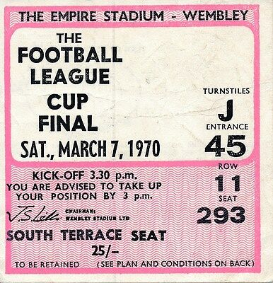 TICKET: LEAGUE CUP FINAL 1970 Manchester City v West Brom - EXCELLENT