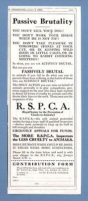R.S.P.C.A - Passive Brutality -- Funds Appeal   (1919 Advertisement)