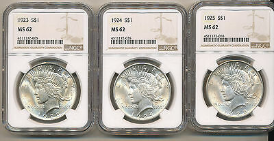 1923 1924 1925 NGC PEACE Silver Dollars - Nice BU Uncirculated