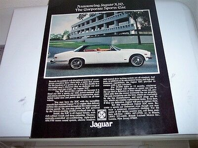 1975 JAGUAR XJC. SPORTS CAR Photo Print Magazine  AD