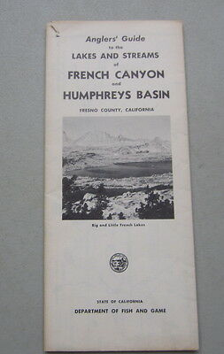 Old Vintage 1956 Anglers Guide FISHING MAP - FRENCH CANYON HUMPHREY'S BASIN CA.