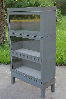 VTG Barrister Bookcase Glass & Steel HILLSIDE METAL Industrial Machine Age Gray