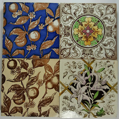 """CHARACTER SET OF FOUR MOUNTED 6"""" Sq ORIGINAL VICTORIAN CERAMIC TILES"""