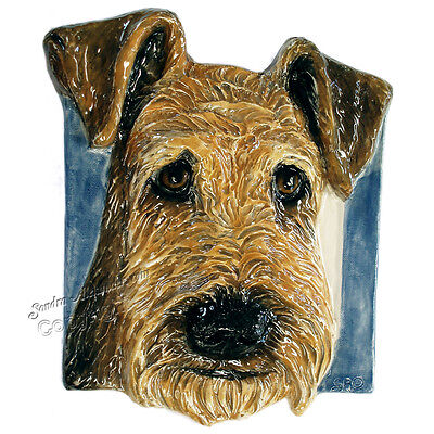 Airedale Terrier Dog Tile Handmade Pet Portrait Ceramic Sondra Alexander Art