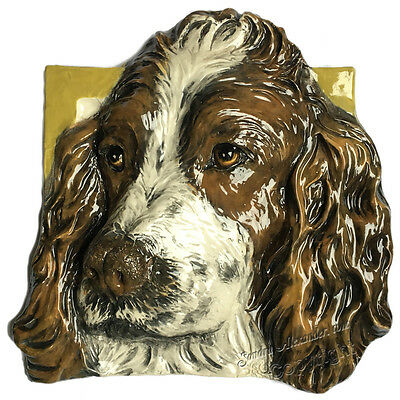 English Springer Spaniel Dog Tile Ceramic sculpture Sondra Alexander Art