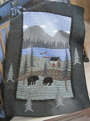 """Donna Sharp """" BEAR LAKE"""" 41"""" X 32"""" Wall Hanging or Quilt # 834 Cabin Northwoods"""