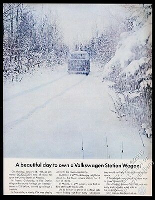 1967 VW Volkswagen Bus microbus in snow storm photo 13x10 vintage print ad