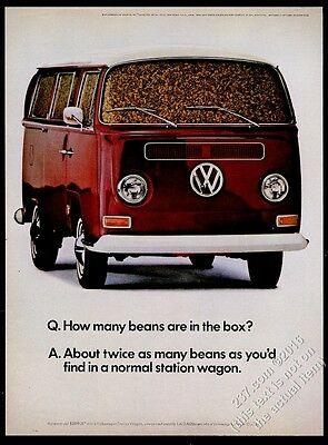 1968 VW Volkswagen Bus microbus full of beans photo 13x10 vintage print ad