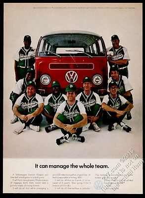1969 VW Volkswagen Bus and baseball team photo 11x8 vintage print ad