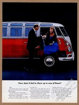 1964 VW Volkswagen Bus microbus & formal couple photo 13x10 print ad