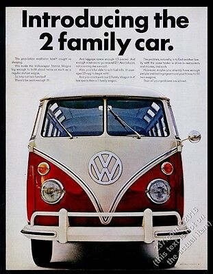 1966 VW Volkswagen Bus microbus photo The 2 Family Car 13x10 print ad