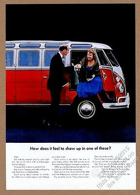 1964 VW Volkswagen Bus microbus & formal couple photo 11x8 vintage print ad
