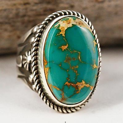"""Albert  Jake """"Divine Earth"""" Turquoise RING Sterling Silver Native American 9 ."""
