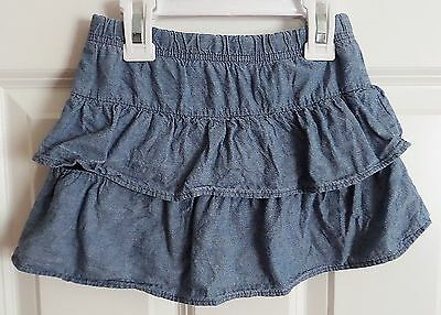 Faded Glory Girl's Tiered Blue Jean Style Skort Size 4