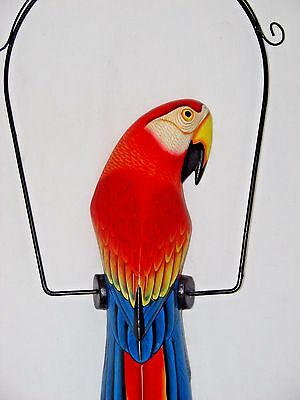 """39"""" Beautiful Red & Blue Parrot On Swing Wood Hand Painted Carved Bird"""