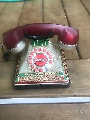 Coca-Cola   Tiffany Stained Glass Look Telephone Retired Coke