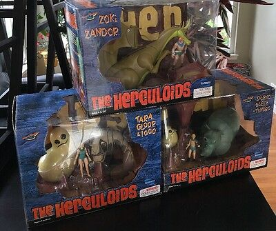 Hanna Barbera ~ Herculoids Toy Figure Lot Of 3 ~ Zok & Zandor ~ Tara ~ Dorno Mib