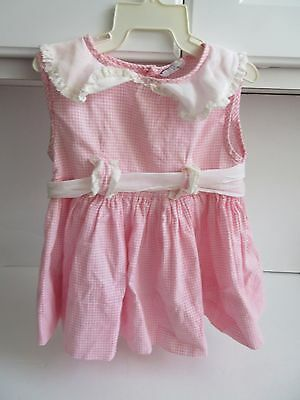Vtg PEACHES n CREAM Baby Girl Pink Checked Cotton Dress Chiffon Belt Size 1