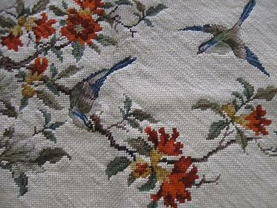 Vintage Completed Needlepoint Petit Point Canvas-17x24-Birds-Flowers-Branches