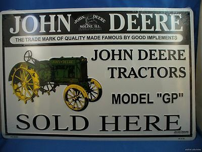 JOHN  DEERE TRACTORS MODEL GP SOLD HERE METAL TIN TRADEMARK SIGN Made in USA US