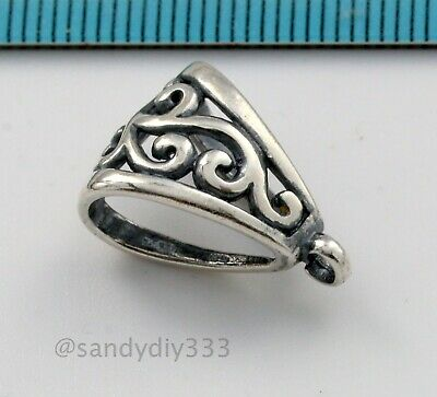 1x STERLING SILVER FLOWER SLIDE PENDANT BAIL CONNECTOR #1003