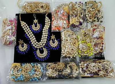 Wholesale 12 Pcs Kundan Gold Tone Indian Bollywood Party Necklace Set Jewelry