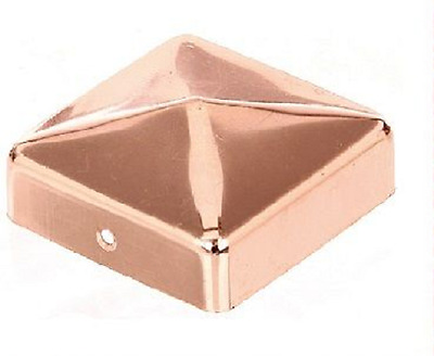 Post cap in copper for square wooden fence post picket fence