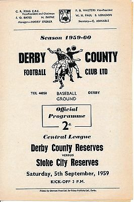 Derby Reserves v Stoke City (Central League) 1959/60