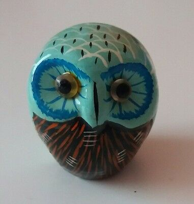 """Small Vintage Clay Owl Ornament - Hand Painted ?? - Approx 1.25"""" Tall"""