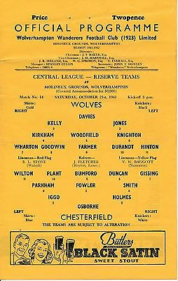 Wolves Reserves v Chesterfield (Central League) 1961/2