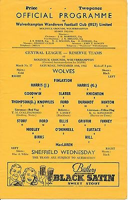 Wolves Reserves v Sheffield Wednesday (Central League) 1962/3